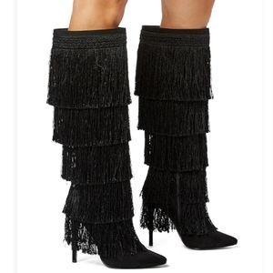 NWT ShoeDazzle Rhonda Fringed Stiletto Boots.